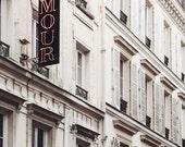 "Amour Love Sign, Paris Print, Valentine Sign, Paris Photography, Wedding Gift, Romantic Art, Bedroom Decor ""Toujours Amour"""