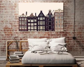 "Amsterdam Canvas Art, Urban Wall Decor, Large Canvas Print, Extra Large Art, 30x40 Brown Home Decor, Canal Houses,  ""Crooked Houses"""