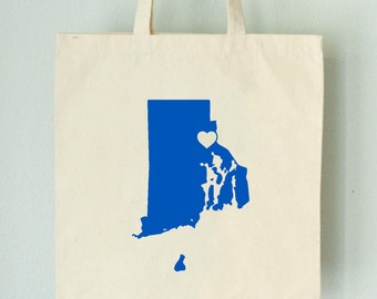 SALE RHODE ISLAND Love Tote Providence royal blue state silhouette with heart on natural bag