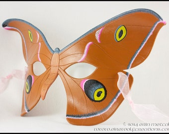 Handmade leather Moth mask, masquerade costume for Mardi Gras, Halloween, LARP, lepidoptery, Antheraea Polyphemus