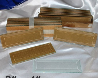 10 Pack of 2 x 4 inch Clear Glass Bevels - Flat On Back for Jewelry, Solder Art, Stained Glass