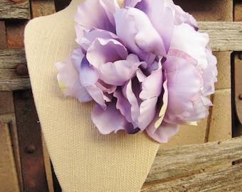 Lavender Peony Hair Clip, Pinup Peony Flower
