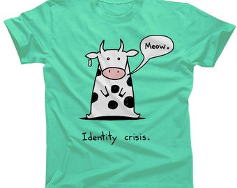 Identity Crisis Cat Cow Tshirt - Mens and Ladies Sizes - Cute Funny Cow Shirt