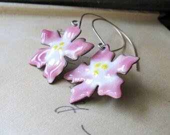 Sale Enamel Pink Flower Earrings dangle with Sterling Silver Earwires