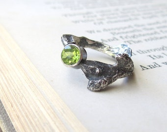 Peridot Gemstone Ring Branch Ring one of a kind ring in Sterling Silver Clearance Sale US 5.5