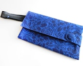 Evening bag, clutch, handmade clutch, bridesmaid, gift for her, Blue Clutch, cute bag, floral clutch, bike inner tube, upcycled bag, #114