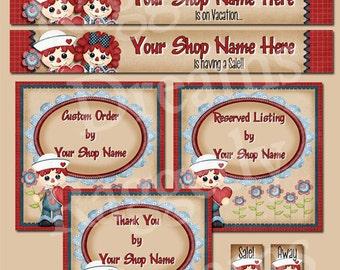 Etsy Banner Set - Premade Etsy Banner - Etsy Shop Banner - SHOP ICON - Shop Profile Photo - Cute Raggedy Andy - Raggedy Dreams Shop Design