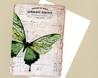 Note Cards , Butterfly Note Cards , Blank Cards , Green Butterfly Flat Cards , Vintage Style Cards , Just a Note