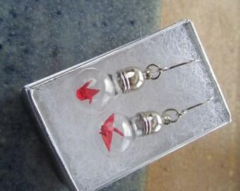Origami Paper Crane Under Glass Earrings, Red Crane In A Bottle