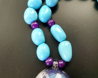 Blue and Purple beaded pendant necklace