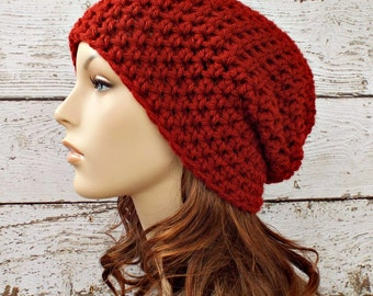 Crochet Hat Red Womens Hat - Slouchy Beanie Hat in Redwood Deep Red Slouchy Beanie - Red Hat Red Beanie Womens Accessories Winter Hat