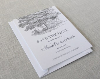 Oak Tree Save the Dates, Oak Save the Dates, Tree Save the Dates, Plantation Wedding, Southern Wedding, Outdoor Wedding, Southern Plantation