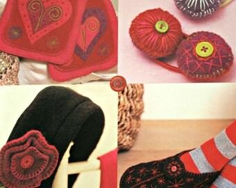 Felt Mittens Patterns Heartfelt Felt Techniques Felt Baby Patterns Felt Bag Pattern Slippers Hat Scarf Sweater  Paper Original NOT a PDF