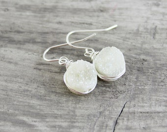 White Druzy Earrings, Sterling Silver Earrings, Wire Wrap Earrings, Druzy Gemstone Earrings, White Bridal Earrings, Silver Drusy Earrings