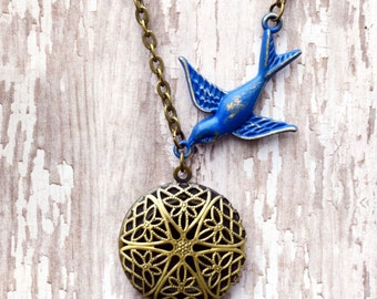 Sapphire Blue Bird Vintage Style Essential Oil Diffuser Necklace Shabby Chic Jewelry Sapphire Necklace Bird Necklace
