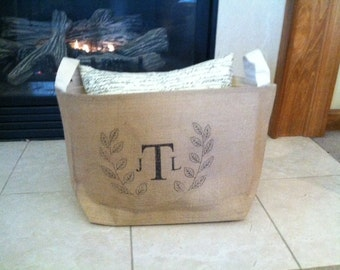 large lined burlap storage basket with laurel monogram, burlap storage container, burlap bin