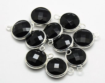 2 Round Faceted Glass Pendants, Black Drops with a Smooth Silver Plated Bezel