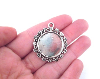 20mm silver plated pendant settings with or without cabochons, Pick your amount, B206