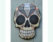 Diamond Sugar Skull Ornament - Original Folk Art Skeleton- Printed and Stuffed Fabric