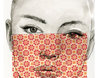 In your eyes - Giclee print - Girl portrait illustration - home decor wall art interior