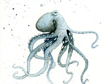 "Blue Octopus Ocean Watercolor Painting PRINT 5""X7"", 8""x10"", 11""x14"""