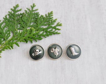 SALE! Vintage Cowgirl Studs - green enamel round button earrings - saddle design - Last Pair!