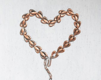Vintage Copper Heart Choker - linked metal hearts adjustable necklace - Valentine's Day gift idea