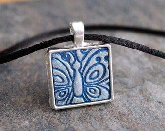Reserved for Cathy. Blue and silver.  Rustic chic Polymer clay pendant necklace. Square silver plated  Butterfly pendant. nature inspired.