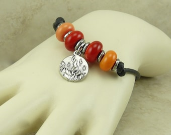 Red Hot Fire Lampwork Bead Toggle Bracelet - Flame Element Dance Team Divergent Calling - Glass Black Leather -  I ship Internationally