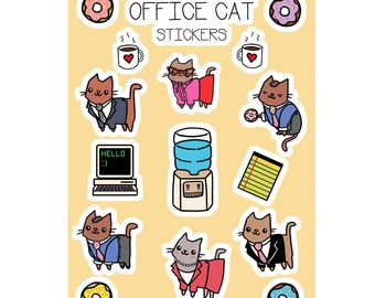 Kawaii Stickers Office Cats Cute Sticker Sheet Cat Stickers Office Gift Super Cute