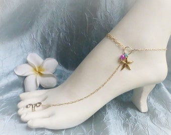 Starfish Anklet, barefoot sandal,  slave anklet - A great accessory for your favorite heels / Customizable, Available in  Gold or Silver