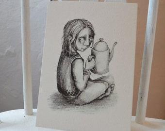 "The Coffeepot - 7"" x 5"" print on cream card"