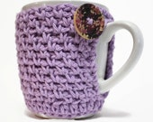 Violet Crochet Coffee Cup Cozy Teacher Gift February Flowers Amethyst Purple