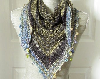 Handknit Women Triangle Scarf Shawl Style Neckwrap with Bead Dangles - Sage and Sky Blue