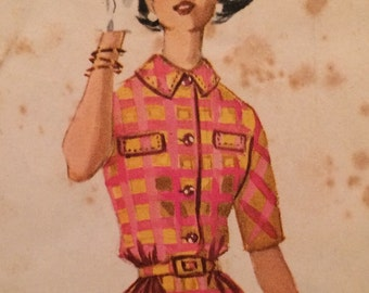 1960's Shirtwaist Dress Vintage Pattern McCall's 6037 slim skirt with a blouse bodice