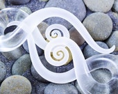 1/2 inch | Clear Seaglass | Squids | Gauged Glass Body Jewelry for Stretched Piercings by Glassheart