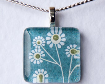 Handmade Glass Tile Teal Daisies Pendant