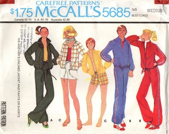 McCall's 5685 His & Hers Unlined Jacket and Pants or Shorts VINTAGE ©1977 CAREFREE PATTERN