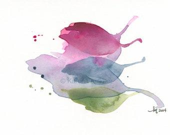 "Watercolor leaves mini art print: ""Colorful Leaves"""