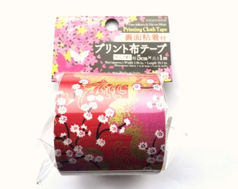 Japanese Fabric Tape - Cherry Blossom Tape - Cherry Blossom Fabric Tape - Pink Tape - Red Tape  - Flower Fabric Tape
