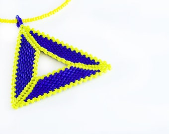 Beaded Triangle Necklace // Blue and Yellow // Seed Beads // Beadwork // Pendent // CLEARANCE