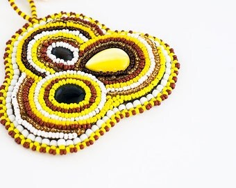 Bead Embroidered Pendent // Necklace // Brown, Yellow, and White // Mod Style