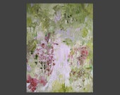 painting,delicate abstract floral garden, fresh pale green, lilac pale rose, plum, impressionist