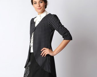 Long houndstooth cardigan, black and lilac-grey, houndstooth jersey jacket, Pleated swallowtail jacket - Office fashion