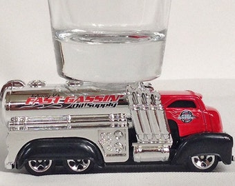 the Original Hot Shot shot glass, Fast Gassin', Racing Truck, HW City Hot Wheel Car