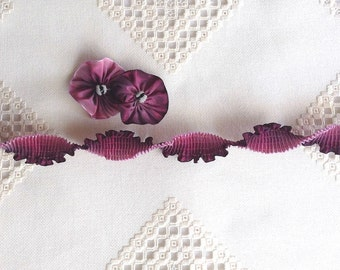 "Pleated French Ribbon Acetate Rosy Plum Ombré 1 meter long 7/8"" wide #241"