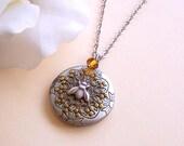 Silver Locket Necklace, Bee Necklace, Long Locket Necklace, Natured Inspired Necklace