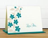Personalized Stationery / Personalized Stationary - FLORA Custom Personalized Notecard Set - Flower Feminine Pretty Cute