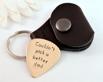 Personalized Better Dad Brass Guitar Pick with Case, Hand Stamped, Personalized Dad, Gift for Dad