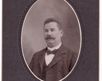 His Mustache was his Making - Antique Cabinet Photo of Mustached Man